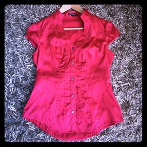 Express fuchsia pink short sleeve blouse